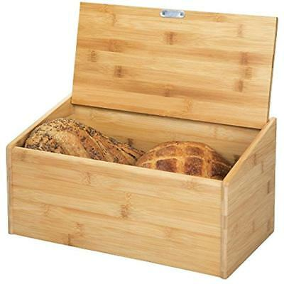 """MDesign Bamboo Bread Box Bin With Hinged Lid For Kitchen Counter Top, Island """""""