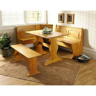 3 Pc White Wood Top Breakfast Nook Dining Set Corner Booth Bench