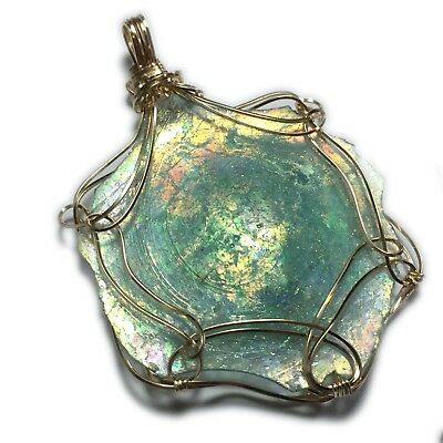 Ancient Roman Glass Pendant 14K - Gold Filled Authentic Roma Shard Jewelry 6RG9