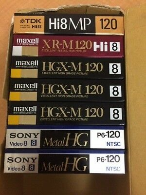 LOT OF 7 Hi8 Blank Video Cassettes SEALED SONY, MAXELL, TDK