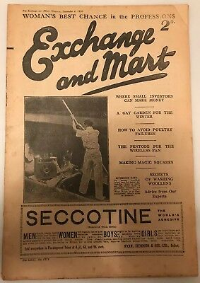 Extremely Old Rare Vintage (Antique) Edition of Exchange & Mart Magazine 1930