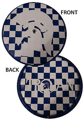 White/ Blue Trojan Check Rear Carrier Scooter Wheel Cover
