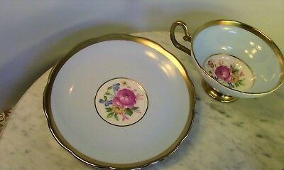 Vintage Blue and Gold with Pink Rose Taylor and Kent Saucer and Cup