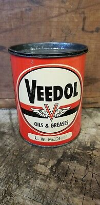 Vintage Veedol Oils & Greases Grease Oil Can