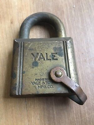 VINTAGE Antique YALE BRASS PADLOCK MADE FOR U.S.N. Navy Military