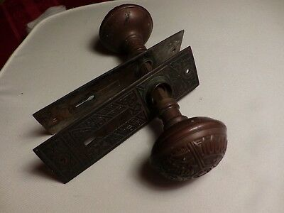 Antique Eastlake Brass Door Knobs With Two matching Eastlake Back Plates