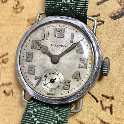 Panto - Banner Watch Co. 1920s Vintage Military Style Watch W/Art Deco Details