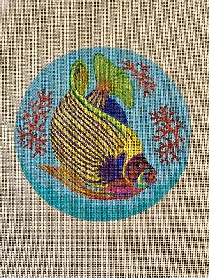 """Handpainted Needlepoint Canvas SEA CORAL TROPICAL ANGEL REEF FISH 18 ct 6.5"""""""