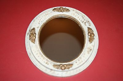 Antique European Style Wood Framed Faux Marble & Gilt Oval Hanging Wall Mirror
