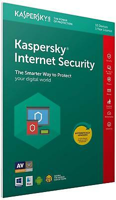 Kaspersky Internet Security 2019 10 Devices 1 Year PC/Mac/Android inc VAT