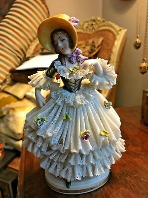 "Antique Victorian German Porcelain DRESDEN Lace Lady Dancer Figurine 7.5"" Tall"
