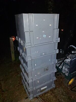 6 x Euro Container Pallet Storage Box Grey large crate