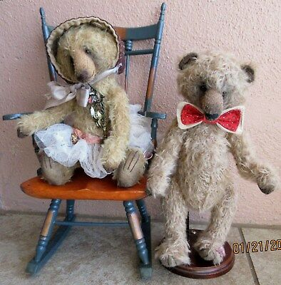 2 Lot Primitive OOAK Handcrafted 5-Way Jointed Mohair Bear Boy & Girl Dolls