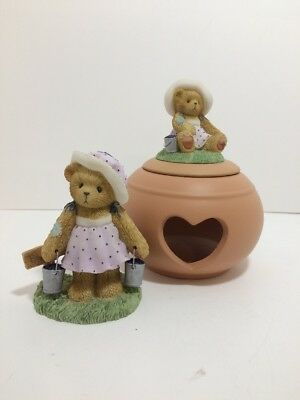 "Cherished Teddies * 2003 ""LEAH"" and Votive Candle Holder CT009 * (WA)"