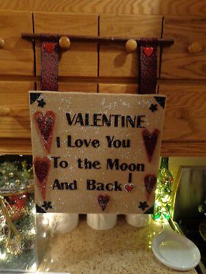 "12"" x 12"" Burlap Stretcher Frame Valentine Folk Art Country/Primitive"