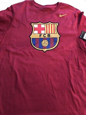 9b9134cee86 Nike Mens Medium FCB Barcelona Crest Soccer Football Short Sleeve T Shirt M
