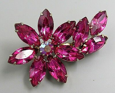 Vintage Jewelry Faceted Hot Pink Crystal Flower BROOCH PIN Rhinestone Lot B