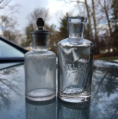 Pair Blown Perfume Bottles Ed Belezaire Paris & 1 With Fancy Monogrammed Stopper