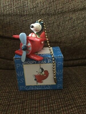 RARE Snoopy Flying Ace fan pull Lamp Chain Vintage Peanuts Airplane RC4293