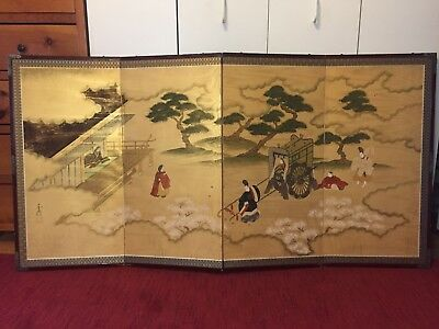 Hand Painted  4 Paneled Screen JAPANESE SIGNED SILK Male & Female