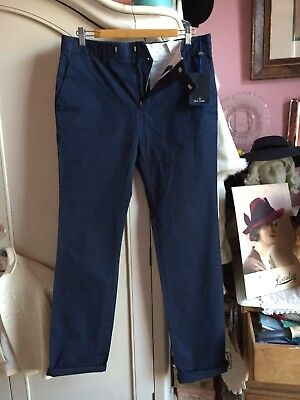 "BNWT Paul Smith; deadstock navy chino style trousers, W 30"" flat front, £149 new"