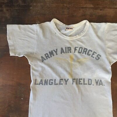 Vintage 1940s 40s Wwii T Shirt Army Air Force Langley Field Va Ww2