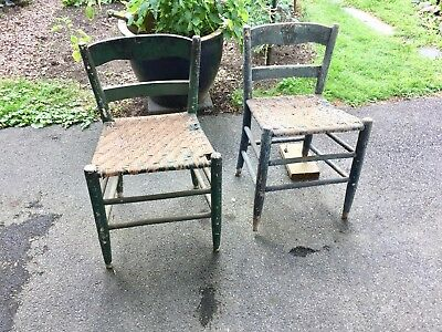 Antique 2 Shaker Cane Blue / Green Chairs  Ladder Back Stool Mission Primitive