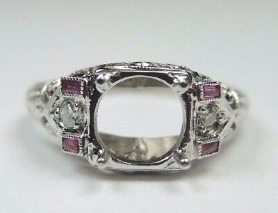 Antique Ring Setting Mounting 18K White Gold Hold 7MM Ring Size 6.5 UK-M1/2 Fine