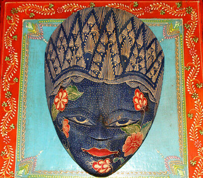 Batik Javanese Mask Wooden Hand Carved Painted Tribal Wax-Resisting Fabric Gift