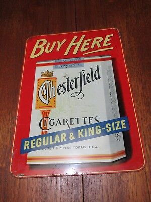 """Vintage Chesterfield 20 Cigarettes Pressed Tin """"Buy Here"""" Liggett & Myers Sign"""