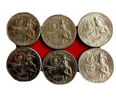 1776 - 1976 Random LOT Of (6) QUARTERS -BICENTENNIAL - circulated And Unchecked