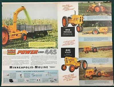 "1956 MINNEAPOLIS-MOLINE 445 TRACTORS; 2 Page Centerfold Ad 15-1/2"" x 11-3/4"""
