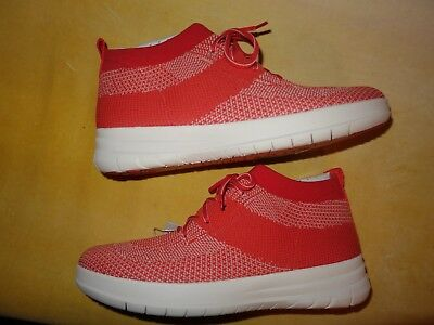 27a0a3f3f847 FitFlop Womens Uberknit Slip-On High Top Sneakers Hot Coral Neon Blush sz 6  NEW