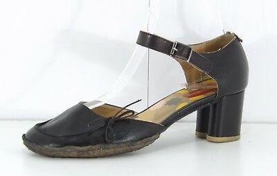 a78c2f109a2e CLARKS Black REAL LEATHER Retro look Ladies Shoes with Ankle Strap size UK  5.5