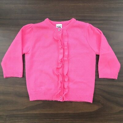 77129baf5975 CARTER S V NECK Button Front Cardigan Sweater Size 6 Solid Pink Long ...