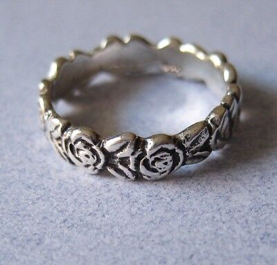 Mexican 925 Silver Taxco Oxidized Etched ROSE FLOWER RING Band any Finger Sz 6.5