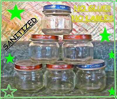 24 Empty 2.5 Oz Baby Food Jars Lids NO Labels and NO Adhesive CLEAN GLASS CRAFTS