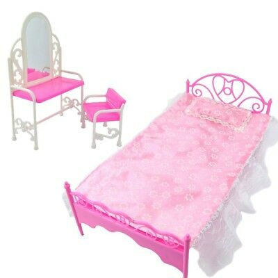 E-TING Fashion Pink Bed Dressing Table & Chair Set For Barbies Dolls Bedroom