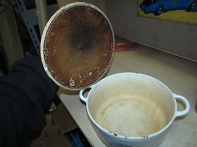 Vintage Prizer-Ware White Enamel on Cast Iron DUTCH OVEN with Lid PICS