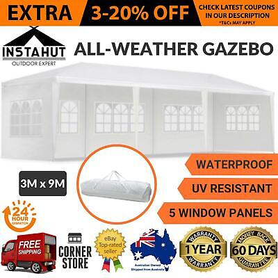 3x9M All Weather Gazebo Outdoor Tent Wide Ground and Canopy Shelter - White New