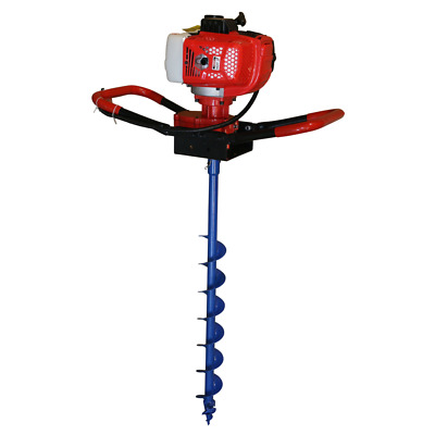 Post Hole Digger 62cc Petrol + 80mm Earth Auger Drill Bit Fence Borer Posthole
