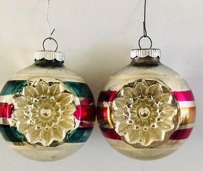 "Vintage Shiny Brite Ornament Double Indent Round 3"" Lot of 2"