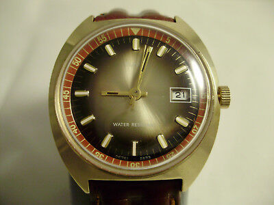 Vintage 1973 TIMEX Marlin, Rare Swiss Dial, Serviced, New Leather Strap,