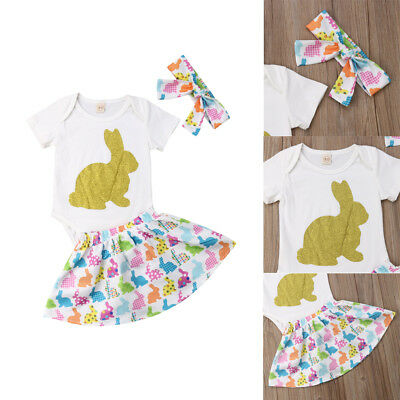 AU Newborn Infant Baby Girl Easter Bunny Top+Cute Skirts Headband Outfits Romper