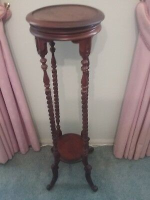 Antique Style Wooden Pot Stand  ~ Barley Twist Legs