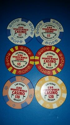 $1/$5/$10/$20  Gaming Chip From The Cbs Sports World Casino, Las Vegas Nv