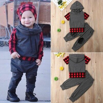 2pcs Toddler Baby Boy Girl Hooded Sweater Tops+Pants Kids Outfits Set Clothes