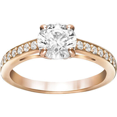 Attract Round Ring, White, Rose Gold Plating By Swarovski 5149218