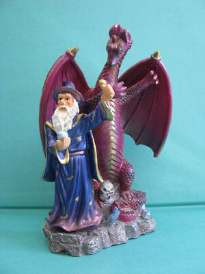 DRAGON  / WIZARD FIGURINE  - on  a  SOLID   BASE