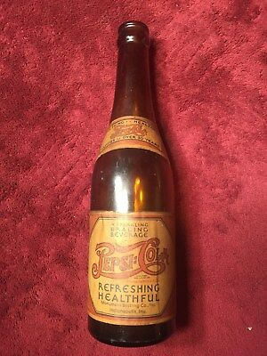 """Indianapolis Pepsi Cola Amber Bottle Full Label -"""" Famous Over 30 Years """" - Exc"""
